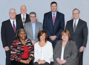 The SAANYS Executive Committee: Top: L to R: John McKenna, Don Nickson, Stuart Pollak, Paul Fanuele, Kevin Casey. Bottom L to R: Regina Huffman, Danielle Dehm, and Joyce Carr